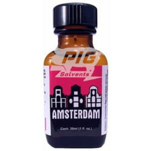amsterdam 30ml poppers with pig solvent logo